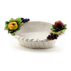 Artistica - Hand Made in Italy - ROBBIANA: Oval basket Centerpiece w/Fruits - ROBBIANA Collection: Our Robbiana pieces are created from original hand-carved molds, and painstakingly hand painted in the classic technique originated by the Della Robbia Florentine dynasty, a family of sculptors and ceramists active from the 15th to the 16th century.