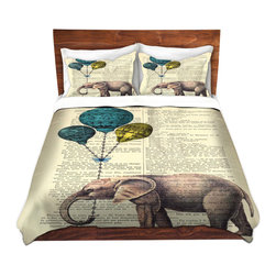 DiaNoche Designs - Duvet Cover Microfiber-DiaNoche Designs-Madame Memento-Elephant Blue Balloons - DiaNoche Designs works with artists from around the world to bring unique, artistic products to decorate all aspects of your home.  Super lightweight and extremely soft Premium Microfiber Duvet Cover (only) in sizes Twin, Queen, King.  Shams NOT included.  This duvet is designed to wash upon arrival for maximum softness.   Each duvet starts by looming the fabric and cutting to the size ordered.  The Image is printed and your Duvet Cover is meticulously sewn together with ties in each corner and a hidden zip closure.  All in the USA!!  Poly microfiber top and underside.  Dye Sublimation printing permanently adheres the ink to the material for long life and durability.  Machine Washable cold with light detergent and dry on low.  Product may vary slightly from image.  Shams not included.