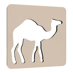 "NUMI NUMI Design LLC - The Traveler, Sandcastle - A modern feature to any child's room, this unusual camel wall décor is made of 5/8"" highly durable NAUF (no added urea formaldehyde) MDF and finished with Nevamar GREENGAURD certified laminate. Hanging hardware included."