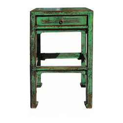 "Golden Lotus - Chinese Rustic Green Lacquer Drawer End Table - Dimensions:   w18.25"" x d18.25"" x h31"""