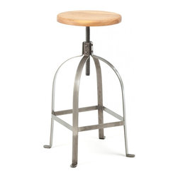 Artisan Stool with a Wood Seat, Gunmetal - A little old-world Italian, a little new industrial American, the Artisan Stool fuses together looks and lines of yesterday and today for a look perfect for any era where craftsmanship is king.