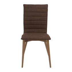 Eurostyle - Yoland Side Chair (Set of 2) - Brown/Walnut - Legs of solid ash and your choice of brown or gray fabric over foam.  Yoland looks somewhat conservative.  Or is it classic?  The horizontally upholstered cushion seat and back look just right at a dining table or in an office.
