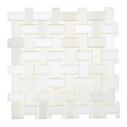 All Marble Tiles - Thassos White Marble Polished Basketweave Mosaic - Finish: Polished