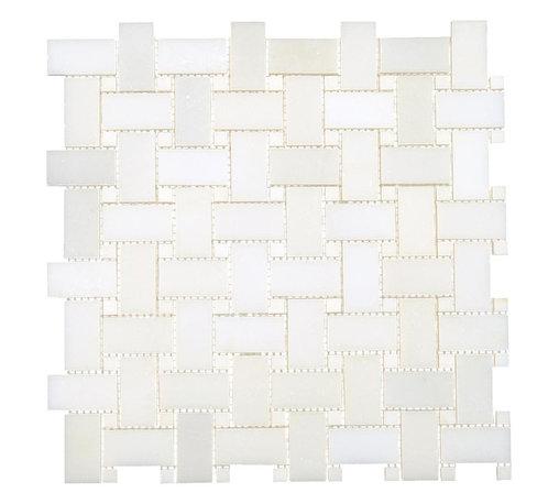 All Marble Tiles - Thassos White Marble Polished Basketweave Mosaic - Finish: Polished