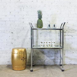 Bar Cart - Classic chrome bar cart. Totally versatile and easy to fit into any room. One glass shelf, and one mirrored shelf.