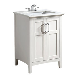 "Simpli Home - Winston White 24"" Bath Vanity with White Quartz Marble Top - The Simpli Home 24 inch Winston Vanity is a classic style vanity finished in a white lacquer finish, and multi finish chrome pulls. This beautiful assembled vanity provides large storage area with an internal shelf behind its 2 doors ."