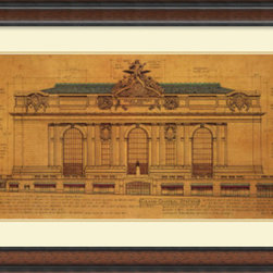 Amanti Art - Roger Vilar 'Grand Central Station (Facade)' Framed Art Print 44 x 27-inch - Grand Central Terminal is one of the most renowned of New York city landmarks.  The building was designed by the architecture firm  of Warren and Wetmore, completed in 1913 and a beautiful example of Beaux-Arts architecture.
