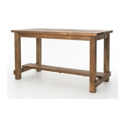 Four Hands - Four Hands Hughes 79 x 39 Rectangular Bleached Pine Cecil Pub Table - Drawing inspiration from early French and American architecture the Hughes Collection combines modern functionality with woods reclaimed from old buildings for a found appeal that is as striking as it is livable. With unique characteristics defined by the geographic region from which the timbers originate pine and elm are bleached sanded and finished to heighten the woods' raw beauty. The addition of slate stone and cast iron add to Hughes' rustic allure.At Four Hands sparking your imagination is their passion. To do it they provide exclusive access to more than 40 furniture collections — including designers and brands such as Bina Van Thiel and their own Four Hands furnishings. They never stop innovating to transform interiors. Their designers travel the world in search of inspiration. They offer a creative juxtaposition of styles that mix and match effortlessly. Reclaimed woods natural materials and touchable textures offer laid-back luxury for everyday living. With more than 1300 furniture pieces and more than 600 items introduced each year they always have something new in store for you. At Four Hands they seek authentic materials that celebrate the passage of time reverence former uses and reveal past histories. They find clever ways to re-use found materials or re-purpose otherwise overlooked resources from around the world. They love creating furniture that tells a story. With their pieces we hope you'll tell one of your own.