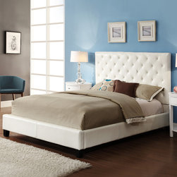 None - Sophie White Vinyl Tufted King-size Platform Bed - Transform the look of your room with this stunning white king-size platform bed. Crafted with a sturdy wooden frame, the bed is finished with elegant button-tufted vinyl upholstery that adds a soft, luxurious feeling to your bedroom.