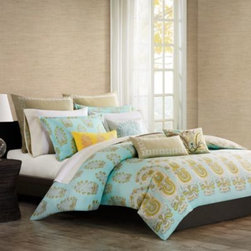Echo Design - Echo Design Paros Duvet Cover - This duvet cover whisks you off to Greek Island of Paros, known for its golden beaches and beautiful coastline. Over scaled paisley and small floral motifs bring an exotic dimension and texture to this lovely ensemble.