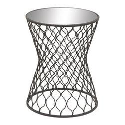 Chic Metal Mirror Round Accent Table - Description: