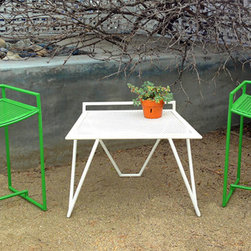 "ROOST - Extra guests pop in for a bite? Need another seat around the fire pit? How about the perfect garden stool- or craft table chair? The ROOST is the perfect utility seating solution. Don't be fooled by its light weight and compact stature though- this little number is hand welded from 5/8"" diameter A513 mild steel tubing and can take whatever you throw at it. Its stainless steel carriage bolt feet keep it elevated above ground level while the fun Fresh Green powder coat finish ensures years of untarnished brilliant color. Ask about other color options too as its versatility goes beyond its performance in the field."