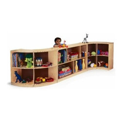 Whitney Brothers Curved Storage - The Whitney Brothers Curved Storage is an innovative way to store and display books and more. This set includes two curved open cabinets and one straight back open cabinet. The curved cabinets each have four sections for display. The straight back cabinet offers five areas. All pieces are made of birch laminate with an easy-to-clean, protective natural finish and heavy-duty casters for easy mobility. Includes a lifetime manufacturer's warranty.About Whitney BrothersSince 1904, Whitney Brothers has been using classic cabinetmaking techniques to produce safe and sturdy educational toys. Now, they're also a leader in developing versatile, innovative furniture and storage systems for schools, daycare centers, and private homes. When they design and manufacture their educational toys and furniture, Whitney Brothers uses the finest hardwoods and veneers and traditional joinery methods for extra strength. Edges and corners are always rounded smoothly and finished by hand. All of their glues, paints, and finishes are nontoxic and easy to clean.