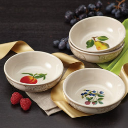 BonJour - BonJour Dinnerware Orchard Harvest Stoneware 4-piece Fruit Bowl Set - Showcase servings of sweet fruits or savory sauces with the graceful BonJour Dinnerware Orchard Harvest Stoneware 4-piece Fruit Bowl Set. These fruit bowls displaying subtle sophistication that coordinates beautifully with table and kitchen decor.