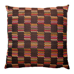 Designer Fluff - Matchbox Pillow, 20x20 - Think outside the boxes! This pattern flaunts a woven look to charm the eye in rich, unusual color combos of earthy and bright. Toss it on your couch to add some pop to your contemporary setting.