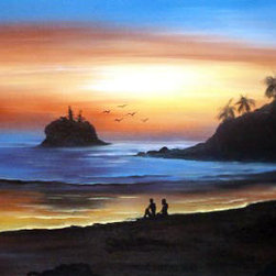 Oriental-Decor - Sunset Beach Oriental Painting - The south of Thailand is one of the most beautiful places on Earth. Famous for its beaches and resorts, this peaceful and beautiful scene is reminiscent of a sunset by the ocean. Painted by a master artist during the waning hours of the day, this work is sure to serve as excellent decoration on any wall.