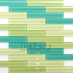 SALE ITEMS - a mix of pale yellow, green and bluish bars.  Complete description - http://tiledaily.com/2013/07/19/linear-bars-glass-mosaics-sale/