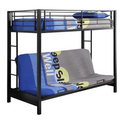 Walker Edison - Walker Edison Sunset Metal Twin/Futon Bunk Bed - Black X-LBFOTB - This simple, yet contemporary twin-over-futon bunk bed conveys chic style with its clean lines and beautiful finish. The sturdy, steel-crafted frame promises stability and function to support up to 250 pounds. Designed with safety in mind, this bunk bed includes full length guardrails and two integrated ladders for dual access to the top bunk. Ideal for space-saving needs, the futon easily converts into a full-size sleeper to accommodate an overnight guest or a growing family.Features:&#8226: Stylish, contemporary design&#8226: Sturdy, steel construction&#8226: Attractive, powder-coated finish&#8226: Futon quickly and easily converts into a full-size sleeper&#8226: Support slats included, no box spring needed&#8226: Each bunk supports 250 lbs.&#8226: Conforms to the latest consumer product safety standards&#8226: Ideal for space-saving needs&#8226: Maximum recommended upper mattress thickness of 9 in.&#8226: Does NOT include mattresses or bedding&#8226: Ships ready-to-assemble with necessary hardware and tools&#8226: Assembly instructions included with toll-free number and online support