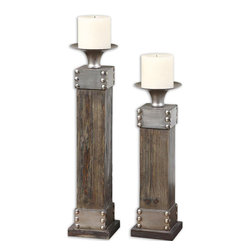 "Uttermost - Lican Natural Wood Candleholders, Set of 2 - Natural Wood With A Light Chestnut Stain And Antiqued Silver Accents. Distressed White Candle Included. Sizes: Sm-5x14x5, Lg-5x18x5.; Collection: Lican; Material: Fir, Metal; Finish: Natural Wood With A Light Chestnut Stain And Antiqued Silver Accents. Distressed White Candle Included.; Dimensions: 4.75""D x 4.75""W x 17.75""H; Uttermost's Candleholders Combine Premium Quality Materials With Unique High-style Design.; With The Advanced Product Engineering And Packaging Reinforcement, Uttermost Maintains Some Of The Lowest Damage Rates In The Industry. Each Product Is Designed, Manufacturered And Packaged With Shipping In Mind."