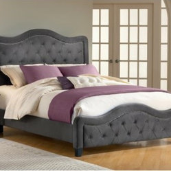 Trieste Upholstered Low-profile Bed, Pewter