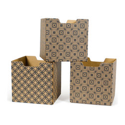 Quark Enterprises - Star-Pattern Decorative Storage Boxes, 3-Pack - Our Modern Patterns Kids Storage Bins are the perfect addition to your twenty-first century child's room. What better way to instill a sense of modernity then to surround them with the latest and greatest in contemporary design.