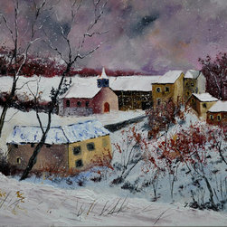 overstockArt.com - Ledent - Snow in Houroy 67 - Snow in Houroy 67 is a great painting of winter landscape originally made by Pol Ledent as an oil painting on canvas. Enjoy the beauty and color of this painting reproduced as a fine and high quality print on canvas Pol Ledent was born in 1952 in Belgium. He came to painting in 1989. He started with watercolor but felt rapidly that oil painting would match his way of being. He is a self-taught painter . Nevertheless he took some drawing lessons in a Belgian academy. After taking part into numerous group exhibitions, some galleries in Belgium proposed to him to exhibit his works. Dinant, Bouillon, Brussels , Paris and Moscow in October 2006.