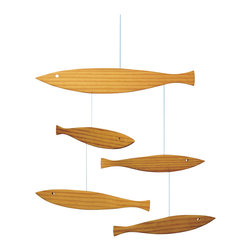 Flensted Mobiles - Floating Fish Mobile - Swimming upstream (or down) is no problem for this school of fish. Made of pine with sleek silhouettes, you can hang them indoors or out. They'll look perfectly at home poolside next to your cabana or displayed by the sauna.