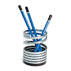 Uncoiled Pencil Cup - Your desk gets an unconventional upgrade with this fun take on an ordinary pencil cup. It appears to unwind from the top, giving it a snaky, artistic design.