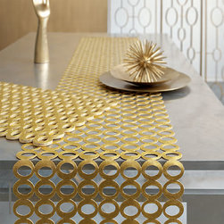 Chilewich Pressed Mod Table Runner - This gold runner will add glam in a second. It's the perfect element to bring out when you have guests or when you just feel like you need some bling in your life.