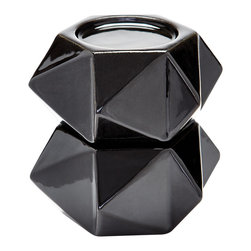 Lazy Susan - Large Ceramic Star Candle Holders, Black Set Of 2 - Handcrafted In Earthenware And Finished In A Metallic Glaze These Geometric Forms Are Based On Origami. Origami Is Now Considered A Modern Art Form After Being Popularized Outside Of Japan In The Mid-90'S.