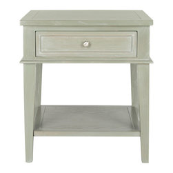 Safavieh - Ash Gray Trevor End Table - This traditional end table boasts a two-tiered design and built-in drawer, making it the perfect place to store and showcase favorite photos and keepsakes.   24'' W x 26'' H x 24'' D Wood Assembly required Imported