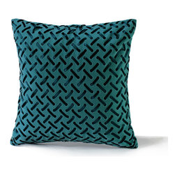 14 Karat Home - Ribbon Basketweave Pillow, Turquoise, 18x18 - Chic and unconventional this throw pillow is made of a flat brushed velveteen finish the satin dyed to match ribbon is weaving in and out of the fabric. This richly colored pillow is elegant and sophisticated and would be a conversation piece in any room in your home.
