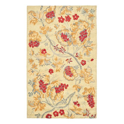 Safavieh - Country & Floral Blossom 8'x10' Rectangle Beige-Multi Area Rug - The Blossom area rug Collection offers an affordable assortment of Country & Floral stylings. Blossom features a blend of natural Beige-Multi color. Hand Hooked of Wool the Blossom Collection is an intriguing compliment to any decor.