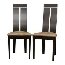 Baxton Studio - Baxton Studio Magness Dark Brown Modern Dining Chair (Set of 2) - The contemporary Magness Dining Chairs are a modern home's dream. Each chair is made of hardwood with dark brown wenge veneer as a finish. The chairs feature eye-catching stylish steel inlays on the backrests as an added contemporary accent and are completed with tan microfiber foam seats. The Magness Chairs require assembly.