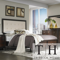 Tribecca Home - Tribecca Home Cumbria White Bonded Leather King-size Storage Plateform Bed - Bring a beautiful, classic style to your home with this Cumbria, king-size bed. This bed is made of Asian wood with a reddish-brown finish for an elegant look. The cream-colored, bonded-leather headboard adds a touch of luxury to this bed.