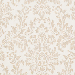 Romosa Wallcoverings - White / Tan Faux Worn Damask Shabby Chic Georgia Wallpaper - - Color: White / Tan