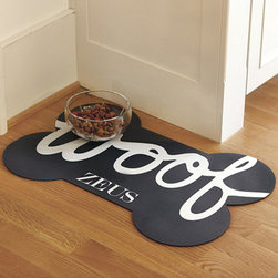 Pet Bowl Mat, Bone - This mat is perfect for keeping your floors clean and dry. I love the bone shape and the fact that it can be customized with your dog's name.