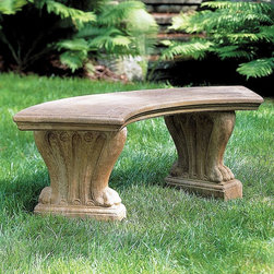 Campania International - Campania International Curved Westchester Cast Stone Backless Garden Bench - BE- - Shop for Benches from Hayneedle.com! About Campania InternationalEstablished in 1984 Campania International's reputation has been built on quality original products and service. Originally selling terra cotta planters Campania soon began to research and develop the design and manufacture of cast stone garden planters and ornaments. Campania is also an importer and wholesaler of garden products including polyethylene terra cotta glazed pottery cast iron and fiberglass planters as well as classic garden structures fountains and cast resin statuary.Campania Cast Stone: The ProcessThe creation of Campania's cast stone pieces begins and ends by hand. From the creation of an original design making of a mold pouring the cast stone application of the patina to the final packing of an order the process is both technical and artistic. As many as 30 pairs of hands are involved in the creation of each Campania piece in a labor intensive 15 step process.The process begins either with the creation of an original copyrighted design by Campania's artisans or an antique original. Antique originals will often require some restoration work which is also done in-house by expert craftsmen. Campania's mold making department will then begin a multi-step process to create a production mold which will properly replicate the detail and texture of the original piece. Depending on its size and complexity a mold can take as long as three months to complete. Campania creates in excess of 700 molds per year.After a mold is completed it is moved to the production area where a team individually hand pours the liquid cast stone mixture into the mold and employs special techniques to remove air bubbles. Campania carefully monitors the PSI of every piece. PSI (pounds per square inch) measures the strength of every piece to ensure durability. The PSI of Campania pieces is currently engineered at 