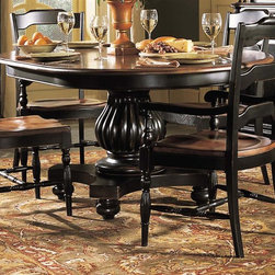 Hooker Furniture - Indigo Creek Pedestal Dining Table in Black F - A fluted pedestal gives this round dining table a regal, dynamic look that will easily enhance any decor. Both classic and timeless, the table is made of hardwood solids and veneers in black finish and features two extension leaves so more friends and family can join you at your table. Chairs not included. Pedestal base. Black finish with rub-through. Table extends another 88 in. long with one 20 in. L leaves. Made from hardwood solids and veneers. Dining Table Base: 38 in. L x 29.25 in. w x 37.5 in. H (120 lbs.). Dining Table Top: 68 in. L x 48 in. W x 4 in. H (144 lbs.). Overall: 68 in. L x 48 in. W x 30 in. H (264 lbs.)