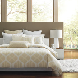 Hotel Collection Bedding, Modern Nexus - Make a reservation to unwind! The Hotel Collection Modern Nexus Collection makes your bedroom aesthetically appealing with a sequence of geometric patterns in calming earth-tone hues. Crafted with silky smooth Pima cotton fabric, the ensemble embraces you with endless comfort. Embroidered accents and pleated details provide an extra layer of modern style. Available in Twin, Queen or King. Available exclusively at Macy's and macys.com