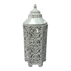 White Hexagonal Candle Lantern w/Lid - **** FREE SHIPPING!!! ****