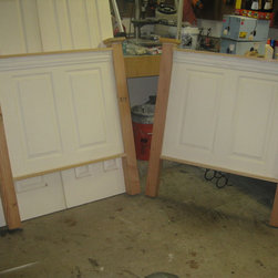 Headboards Made From Doors - Vintage headboards  - headboards made for twin size beds using new doors.  Finished in a satin white color.