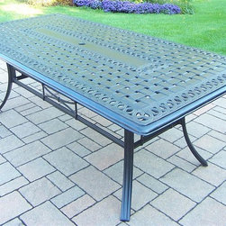 Oakland Living - Traditional Rectangular Table - Umbrella hole. Metal hardware. Fade, chip and crack resistant. Warranty: One year limited. Made from rust free aluminum. Antique bronze hardened powder coat finish. Minimal assembly required. Table: 84 in. L x 42 in. W x 28.5 in. H (110 lbs.)This 84 x 42 inch dinning table is the perfect piece for any outdoor dinner setting. Just the right size for any backyard or patio. The Oakland Hampton Collection combines practical designs and modern style giving you a rich addition to any outdoor setting. The artistic pattern work is crisp and stylish. Each piece is hand cast and finished for the highest quality possible.