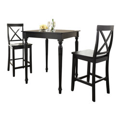 Crosley Furniture - 3 Pc Pub Dining Set w Turned Leg and X-Back S - Includes Pub Table and 2 X-Back Stools in Black. Solid Hardwood & Veneer Construction Table . Solid Hardwood Stools. Hand Rubbed, Multi-Step Finish. Solid Hardwood, Fully Turned, Legs. Shaped Back for Comfort. Table Dimensions: 36 in. H x 32 in. W x 32 in. D. Stool Dimensions: 40 in. H x 18.5 in. W x 22.5 in. DConstucted of solid hardwood and wood veneers, the 3 piece Pub / High Dining set is built to last. Whether you are looking for dining for two, or just a great addition to the basement or bar area, this set is sure to add a touch of style to any area of your home.