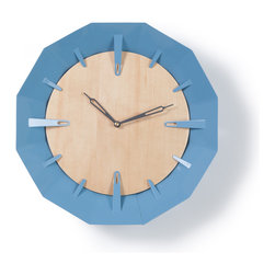 Schmitt Design - Caldera Wall Clock, Light Blue - Cool blue powder-coated steel provides the perfect balance to the warm maple front of this sculptural clock. And wouldn't the frame of color look just right in a kids' room or contemporary kitchen?