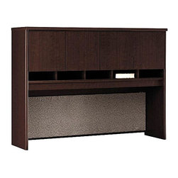 Bush Business - 60 in. Hutch - Series C - Our 60 Hutch ��� Cameo provides an affordable storage solution without cluttering your office.  Use two units back-to-back to create private workstations.  Complete with closed cabinets and paper cubbies, this one also features a full-length tackboard for artful organization. * Overhead storage cabinets. Fabric covered tackboard on back panel. Optional task lighting. Mocha Cherry finish. Item ships ready for easy assembly. 58.858 in. W x 15.354 in. D x 42.992 in. H