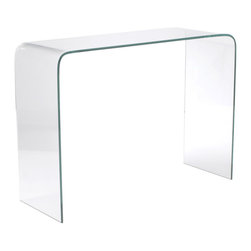 Eurostyle - Gita Console Table-Clr - Clear bent glass, 12mm thick