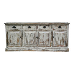 Kosas Collections - Winfrey 4-drawer/ 4-door Sideboard - Give you home a rustic look with this distinctive antique white sideboard. It has four cabinets and drawers so you'll have plenty of space to store necessities, and its vintage finish will go perfectly in a traditionally decorated home.