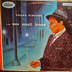 """Glittered Frank Sinatra In the Wee Small Hours Album - Glittered record album. Album is framed in a black 12x12"""" square frame with front and back cover and clips holding the record in place on the back. Album covers are original vintage covers."""