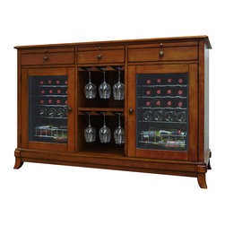 Vinotemp - Vinotemp - Cava 36-Bottle Wine Credenza, Rich Maple - Coupling style with premium wine storage capabilities, the Cava 36-Bottle Wine Credenza is the perfect addition to any space. With the ability to hold up to 36 bottles in two independently controlled refrigerated units, up to 18 wine glasses in the central hanging stemware racks, and all of your favorite wine accessories in its 3 storage drawers, the Cava Credenza is the perfect solution for serving and storing your wine collection.